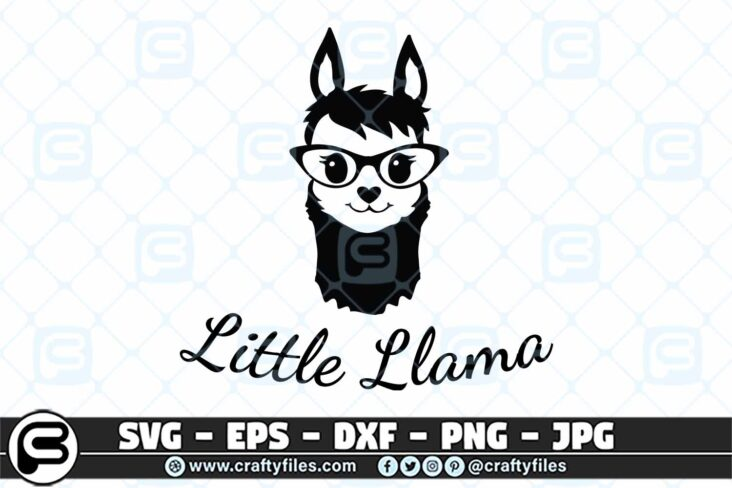 035 little llama 3 2D Little Llama SVG, Cute Llama With Sunglasses SVG