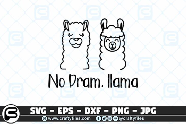 042 No dram llama 3 2D No Drama Llama SVG, Couple of Llama SVG