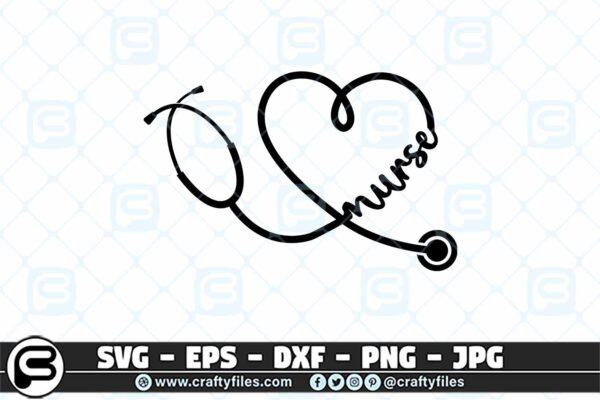 076 Nurse Stechoscope 3 2D Nurse Stethoscope SVG cutting file for Cricut & Silhouette