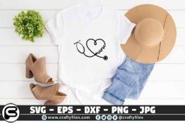 076 Nurse Stechoscope 3 2T Nurse Stethoscope SVG cutting file for Cricut & Silhouette