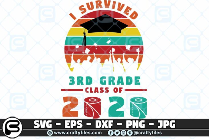 078 i survived the 3rd grade class of 2020 3 2D 3rd Grade Class Of 2020 SVG PNG files, Graduation SVG