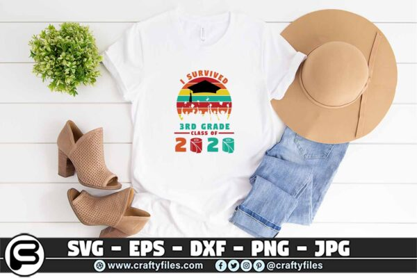 078 i survived the 3rd grade class of 2020 3 2T 3rd Grade Class Of 2020 SVG PNG files, Graduation SVG