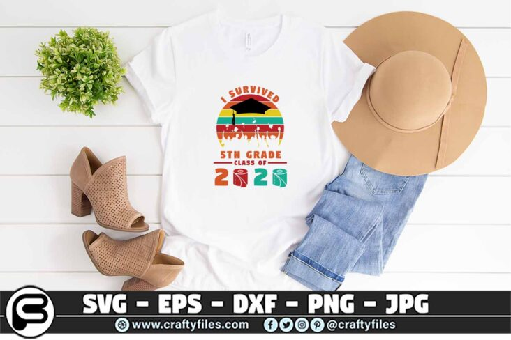 078 i survived the 5th grade class of 2020 3 2T Class Of 2020 SVG PNG files Bundle, Graduation SVG