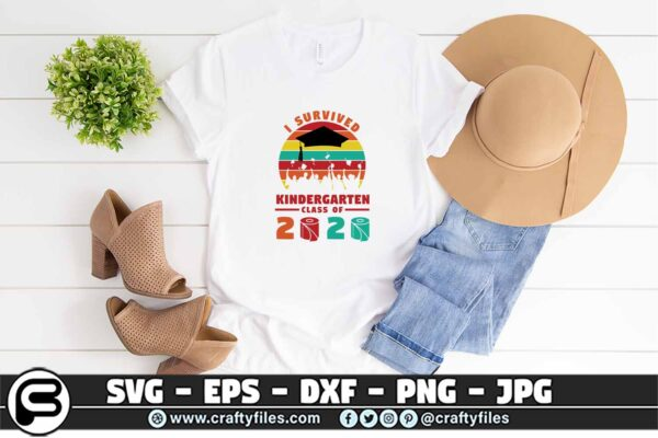 078 i survived the kindergarten class of 2020 3 2T Kindergarten Grade Class Of 2020 SVG PNG files, Graduation SVG