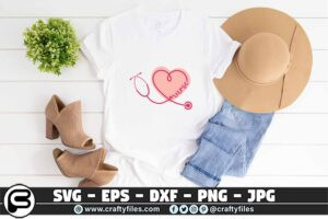 080 Nurse Stechoscope love nurse heart 3 2T Nurse Stethoscope SVG  Love Nurse Heart SVG PNG File