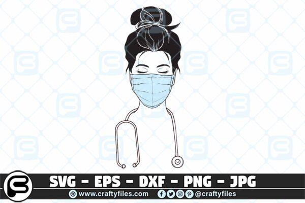 086 Nurse with medical mask SVG stethoscope 3 2D Nurse Face With Medical Mask SVG Stethoscope PNG