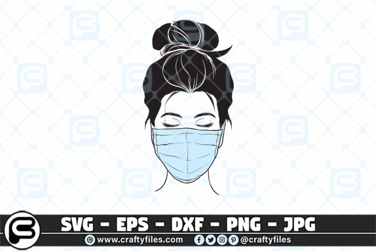 087 Nurse head with stethoscope SVG 3 2D Nurse Head  face With Medical Mask SVG PNG Cut File for Cricut