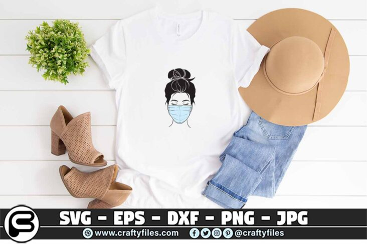 087 Nurse head with stethoscope SVG 3 2T Nurse Head  face With Medical Mask SVG PNG Cut File for Cricut