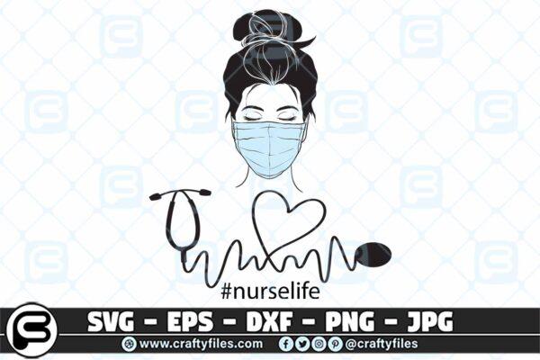 088 Nurse head with Medical mask nusre life 3 2D Nurse Head With Medical Mask Nurse Life SVG PNG Cut File