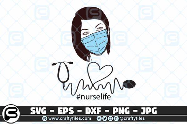 089 Nurse head with Medical mask nusre life 3 2D Nurse Head With Medical Mask Nurse Life SVG PNG Cut File