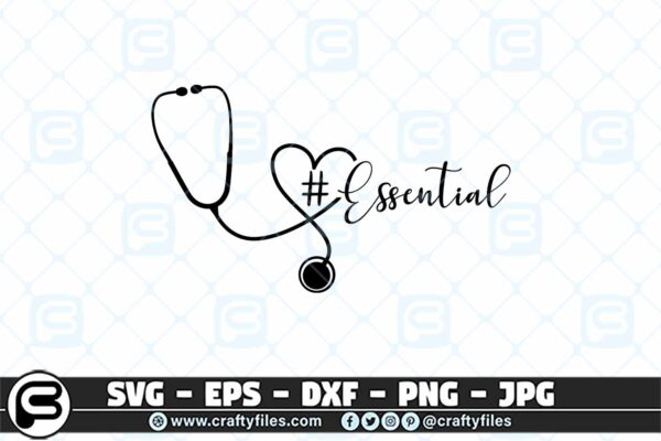 091 Nurse stethoscope essental 3 2D Essential SVG Stethoscope SVG Nurse SVG for Cricut