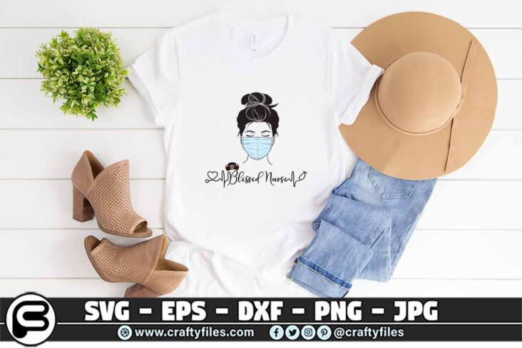 093 Blessed nurse Head with Mask SVG mask 3 2T Blessed nurse Head with Mask SVG PNG Cut File