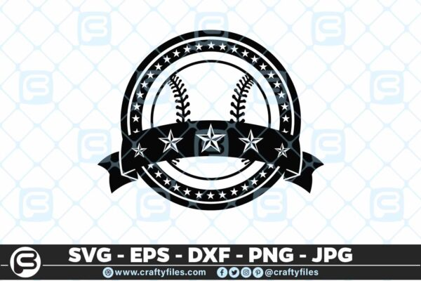 097 Baseball Sport Five Stars SVG PNG Cutting Files