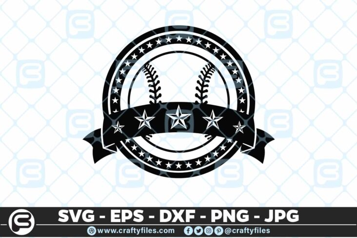 097 Baseball Sport Five Stars SVG PNG Cutting Files