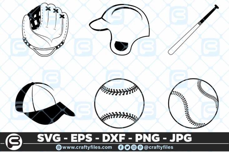 098 Base Ball bundle BaseBall Glove humer BaseBall Bat Cap Baseball SVG Bundle Bat Helmet Glove Cap PNG Cutting Files