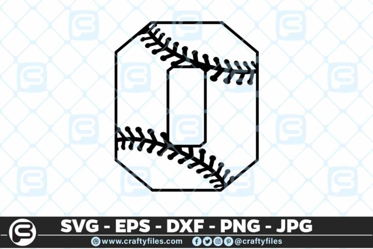 100 0 5 4D Baseball Number Zero 0 split numbers SVG PNG Cutting Files
