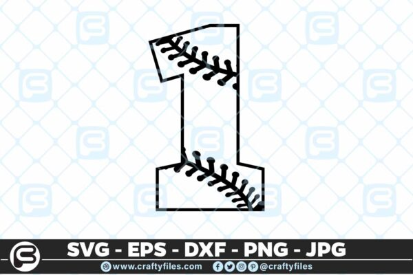 100 1 5 4D Baseball Number one 1 split numbers SVG PNG Cutting Files