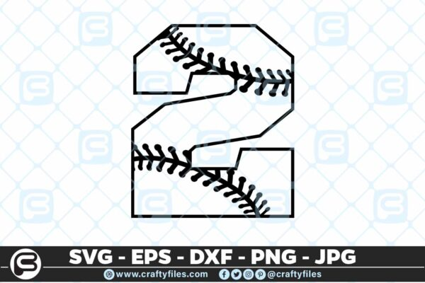 100 2 5 4D Baseball Number two 2 split numbers SVG PNG Cutting Files