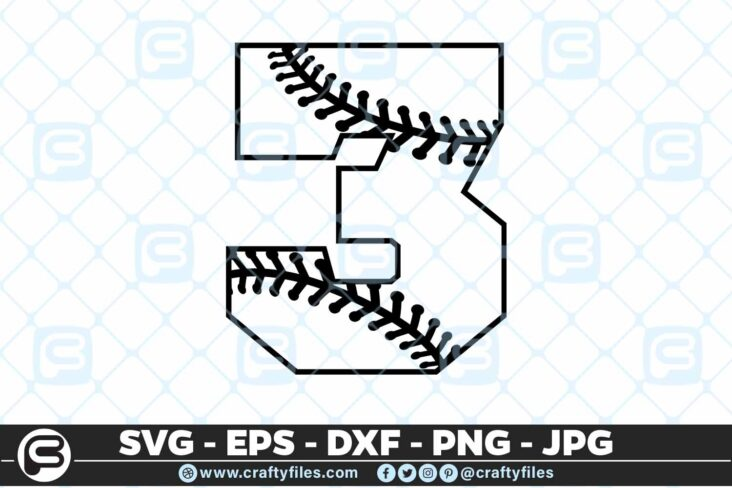 100 3 5 4D Baseball Number three 3 split numbers SVG PNG Cutting Files