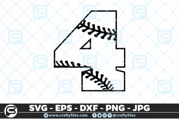 100 4 5 4D Baseball Number Four 4 split numbers SVG PNG Cutting Files