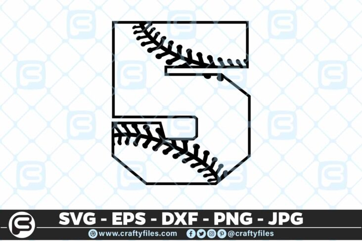 100 5 5 4D Baseball Number Five 5 split numbers SVG PNG Cutting Files