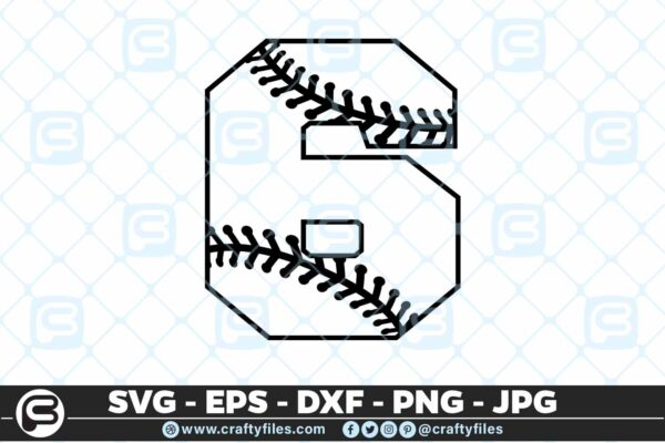 100 6 5 4D Baseball Number six 6 split numbers SVG PNG Cutting Files