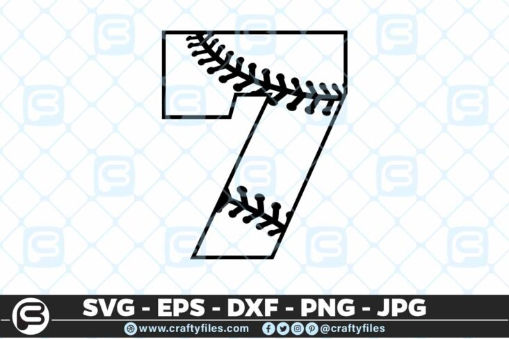100 7 5 4D Baseball Number seven 7 split numbers SVG PNG Cutting Files