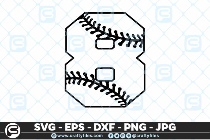 100 8 5 4D Baseball Number Eight 8 split numbers SVG PNG Cutting Files
