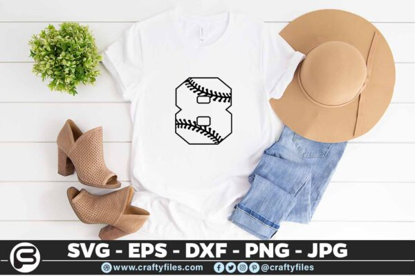 100 8 5 4T Baseball Number Eight 8 split numbers SVG PNG Cutting Files