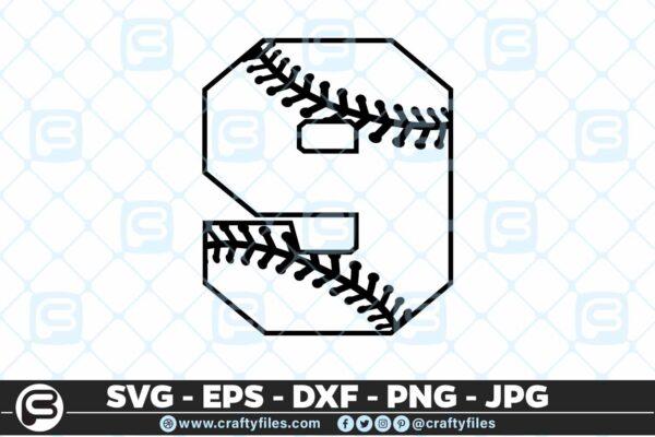 100 9 5 4D Baseball Number Nine 9 split numbers SVG PNG Cutting Files