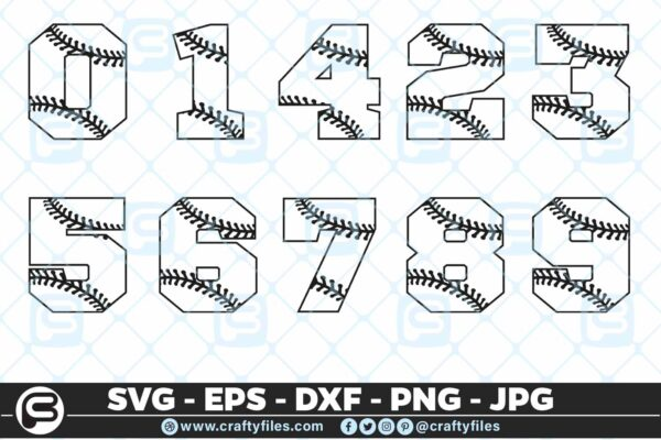 100 Number BaseBall split numbers Baseball SVG PNG Cutting Files