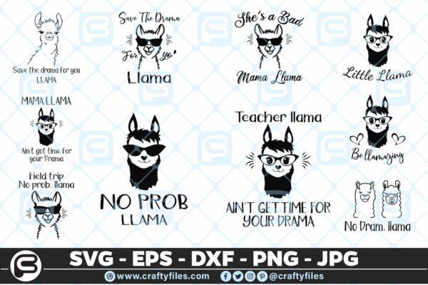 111 Llama Bundle 01 5 4D Llama Bundle SVG Mama Llama SVG PNG Cut files