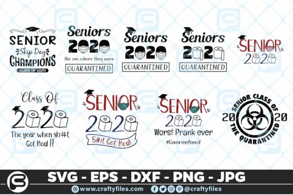 112 class of 2020 senior bundle 01 5 4D Senior 2020 Bundle SVG Class of 2020 SVG PNG Cut Files