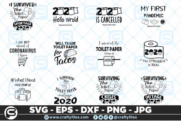 113 Toilet Paper 2020 Quarantine Bundle SVG Files