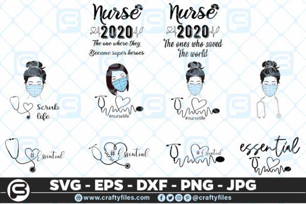 115 nurse bundle 2 01 5 4D Nurse Bundle Essential scrub life SVG PNG Cut Files