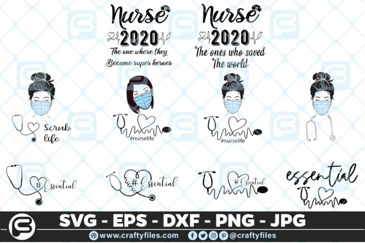 115 nurse bundle 2 01 5 4D Nurse Bundle Essential scrub life SVG PNG Cut Files