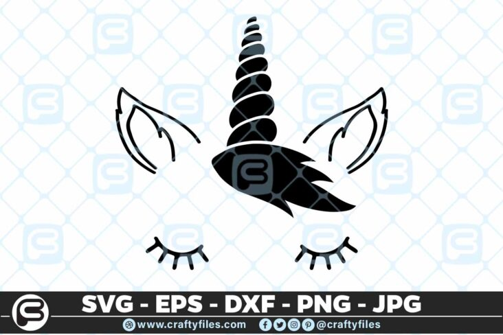 163 Unicorn Beautiful Face Selection1 5 4D Unicorn Beautiful Face cute face Cutting file, SVG, EPS, PNG