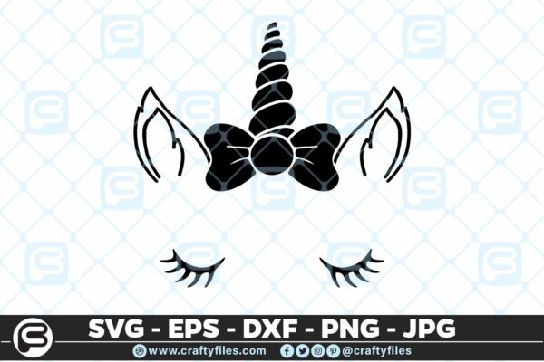 163 Unicorn Beautiful Face Selection5 5 4D Unicorn Beautiful Face cute face Cutting file, SVG, EPS, PNG