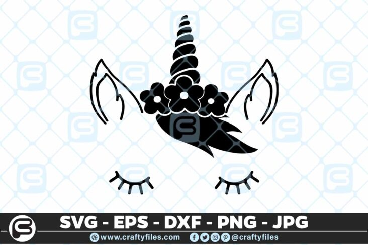 163 Unicorn Beautiful Face Selection6 5 4D Unicorn Beautiful Face cute face Cutting file, SVG, EPS, PNG