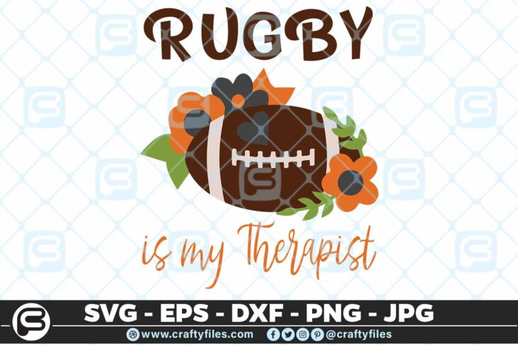 166 Football with flowers svg football team 5 4D Rugby is My Therapist SVG, Sport SVG, Rugby SVG
