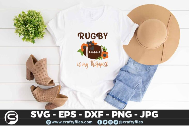 166 Football with flowers svg football team 5 4T Rugby is My Therapist SVG, Sport SVG, Rugby SVG
