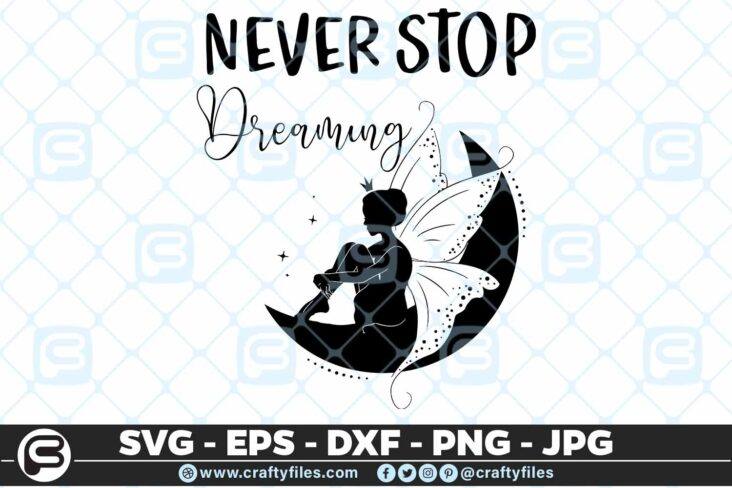 171 Never stop dreaming Fairy 5 4D Never Stop Dreaming Fairy SVG, Cute Fairy SVG EPS DXF