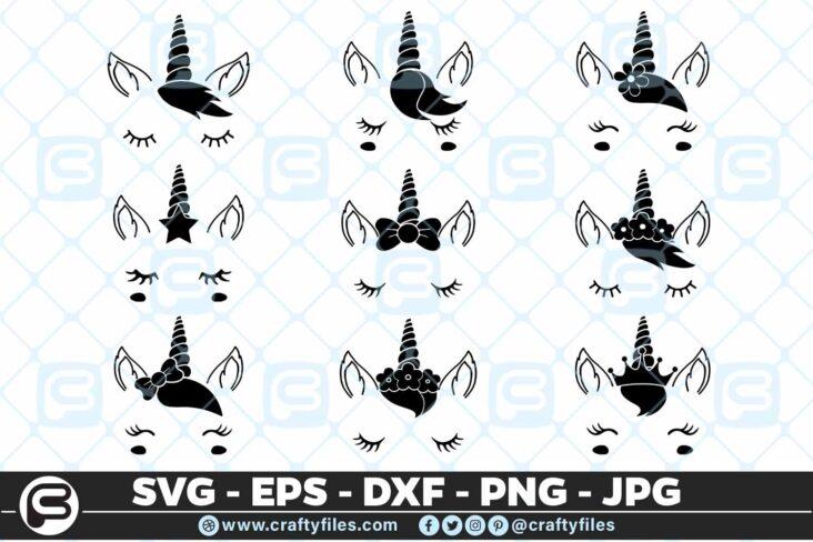 163 Unicorn Beautiful Face bundle Selection 01 5 4D Unicorn Beautiful Face Bundle Cutting file, SVG, EPS, PNG