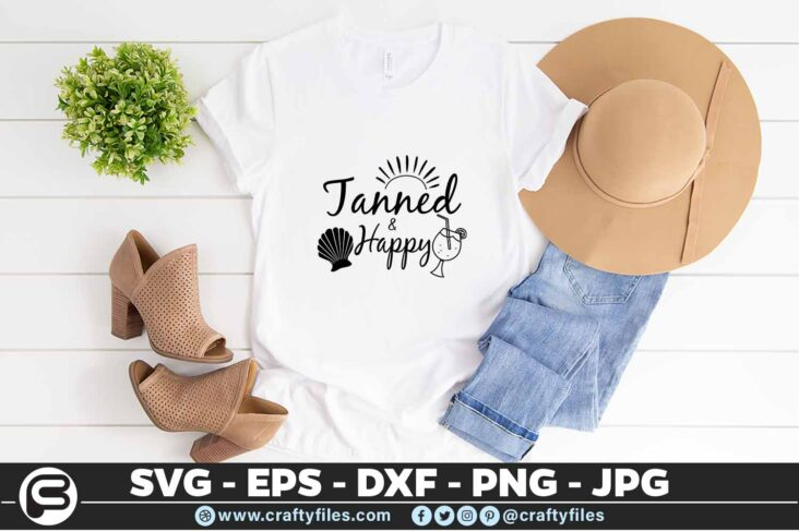 185 Tanned and happy 5 4T Tanned And Happy SVG Hello Summer SVG Beach time EPS PNG