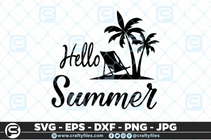 186 hello summer 5 4D Hello Summer SVG Beach time EPS PNG Beaching time SVG