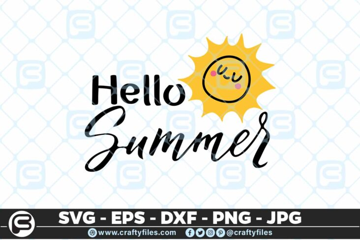 190 hello summer 5 4D Hello Summer SVG Summer time EPS PNG Beaching time SVG