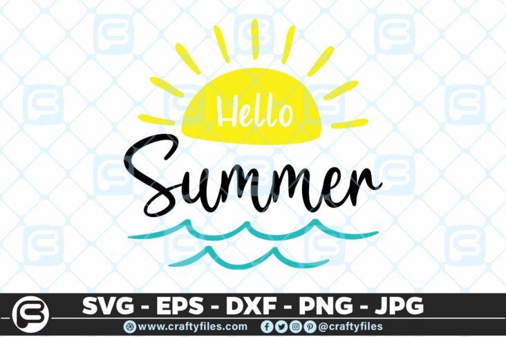 193 Hello summer sun 5 4D Hello summer SVG Yellow Sun SVG Beach time EPS PNG waves SVG