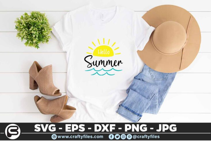 193 Hello summer sun 5 4T Hello summer SVG Yellow Sun SVG Beach time EPS PNG waves SVG