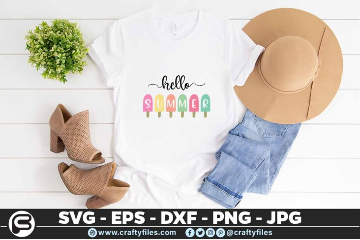 199 Hello summer 5 4T Hello Summer Popsicle SVG Summer time SVG Beach time EPS PNG