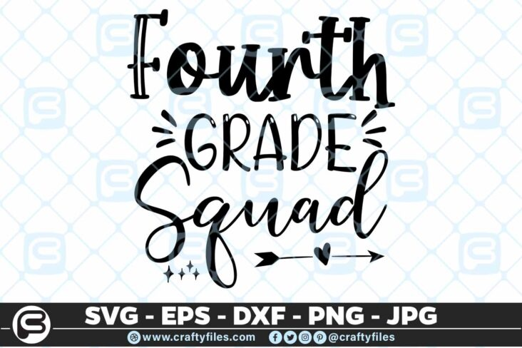 201 4 Back to school 4th fourth Grade Squad 5 4D Back To School 4th Grade Squad SVG arrow PNG EPS DXF
